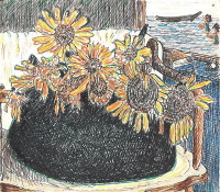 「still_life_with_sunflowers_ on_an_armchair_by_gauguin」 by a-taro